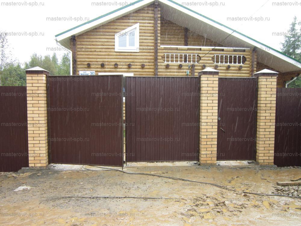 Забор из профнастила своими руками с кирпичным столбами 23