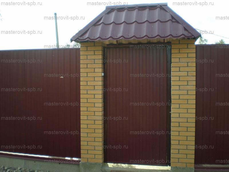 Забор из профнастила своими руками с кирпичным столбами 26