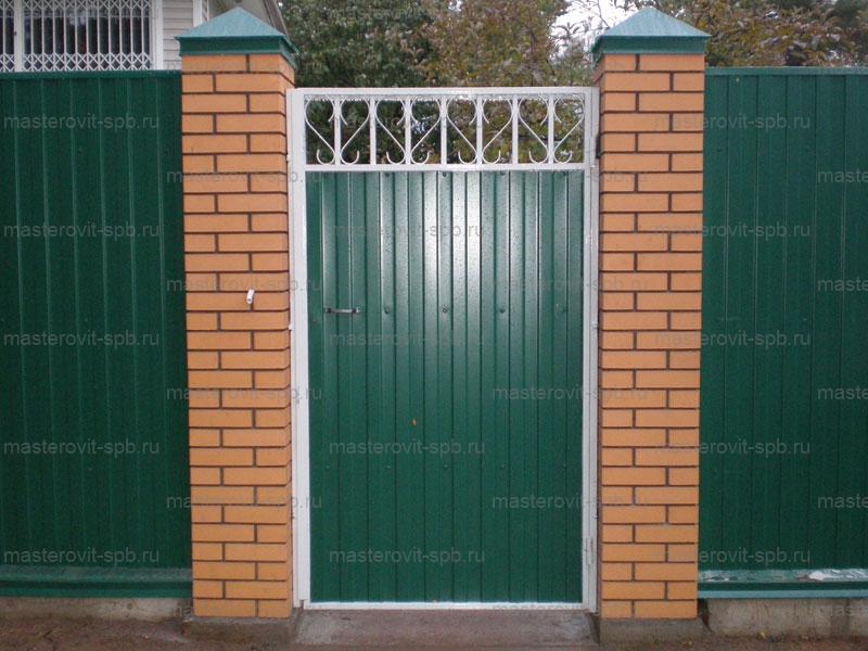 Ворота из профнастила своими руками со столбиками кирпича 42