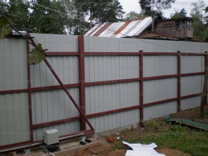 Как сделать откатные ворота забор из профнастила